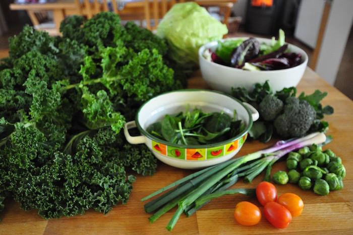 zelena zelenjava z domačega vrta